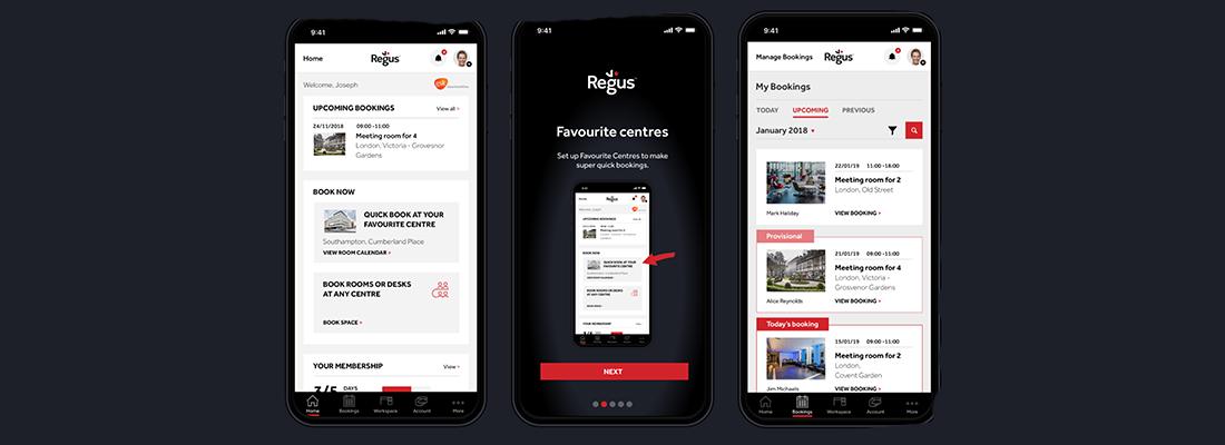 Regus App mobile phone screenshots